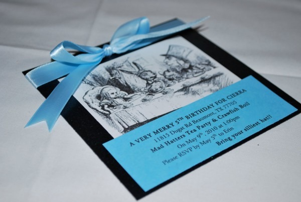 Duvy's Designs  Alice In Wonderland Mad Hatter Tea Party Invitations