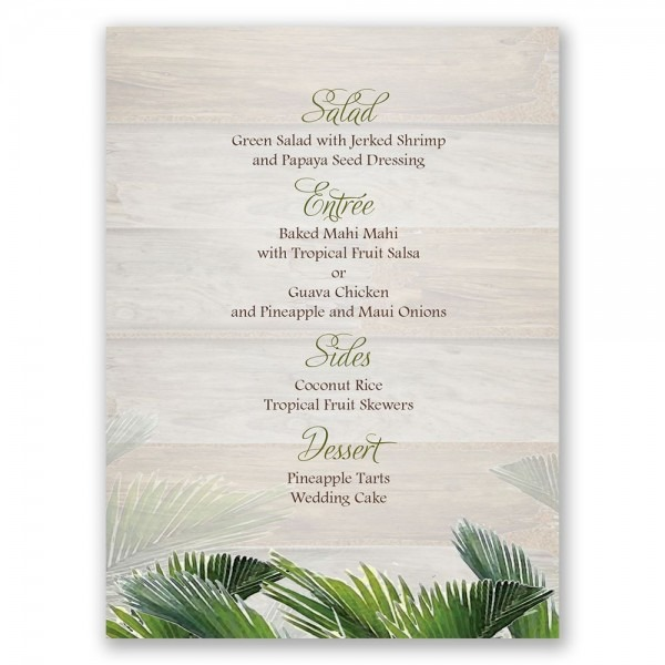 Palm Tree Paradise Menu Card