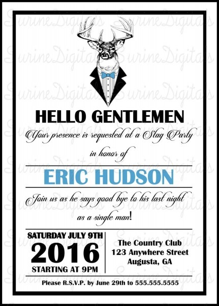 Deer In Tux Bachelor Party Invitation  Country Themed Bachelor