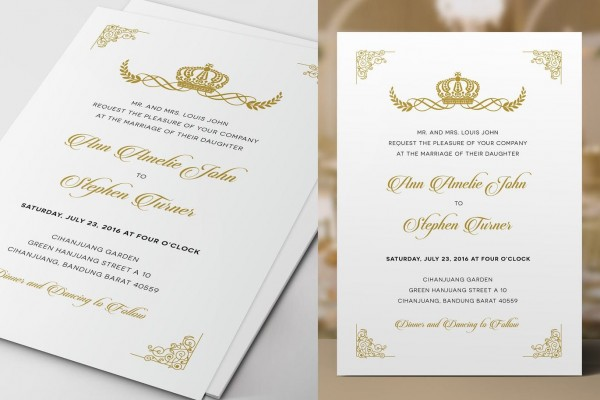 Royal Wedding Invitation Template Psd  Download