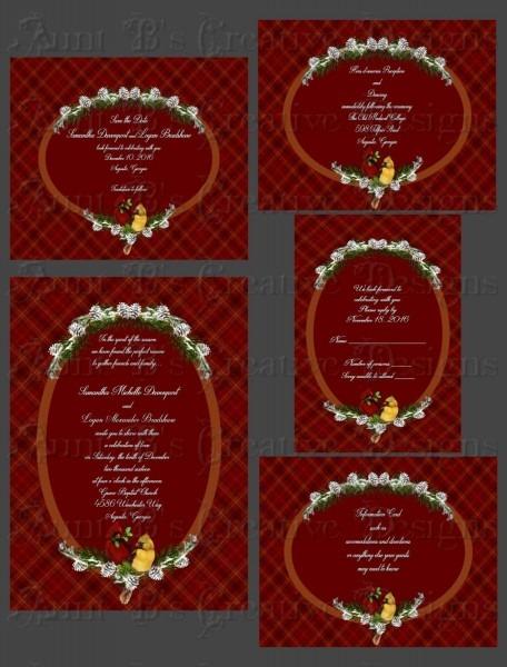 Cardinal Plaid Wedding Invitation, Cardinal Wedding Invitation