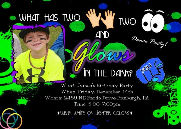 Glow In The Dark Invitation Birthday Dance Party Invite Neon