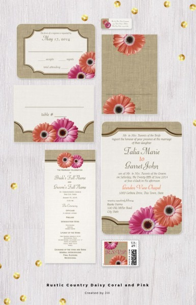 Rustic Country Daisy And Burlap Design Wedding Invitation Set With