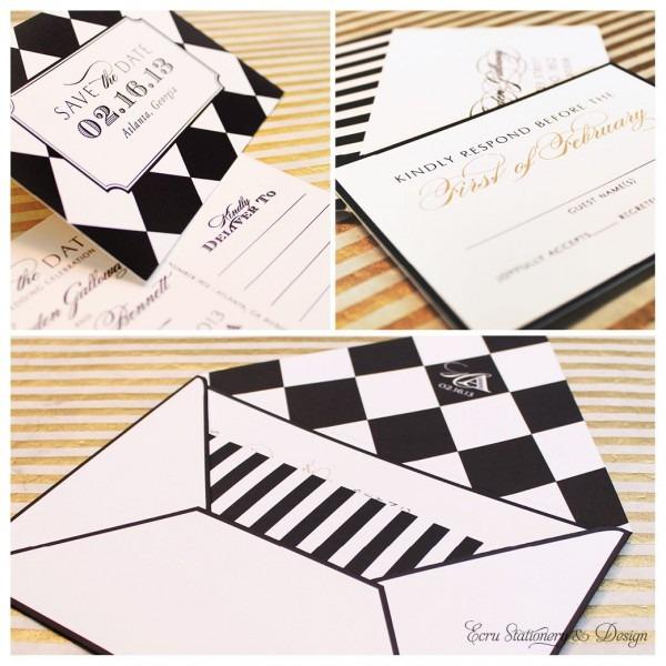 Black And White Harlequin, Checkerboard, And Stripe Invitation