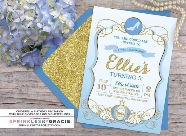 Cinderella Royal Ball Birthday Party Invitation With Free Shipping
