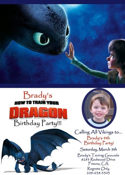 How To Train Your Dragon Photo Birthday Invitation