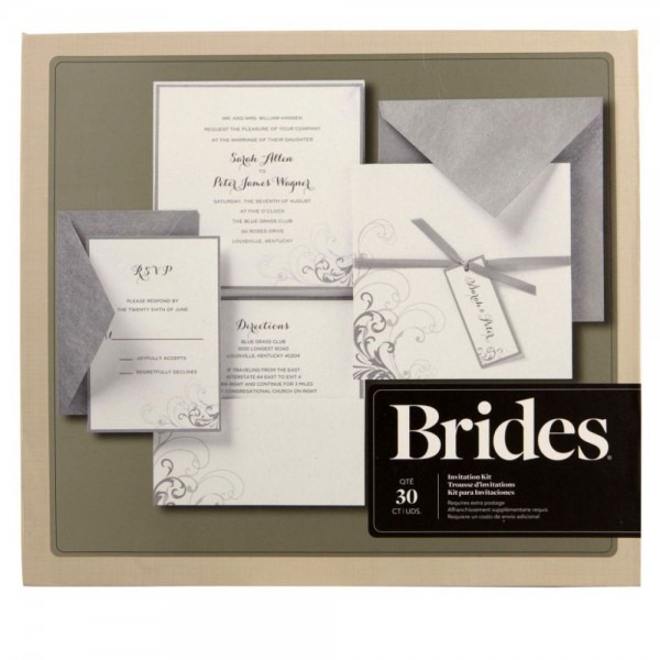 Brides® Silver And White Pocket Invitation Kit