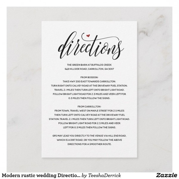 Modern Rustic Wedding Direction Enclosure Card V1