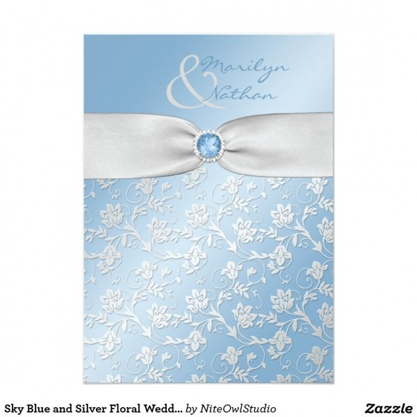 Sky Blue And Silver Floral Wedding Invitation