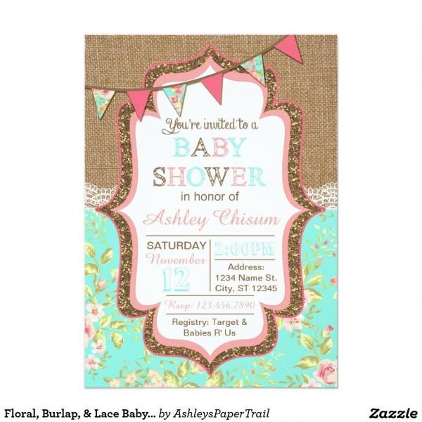 Floral, Burlap, & Lace Baby Shower Invitation