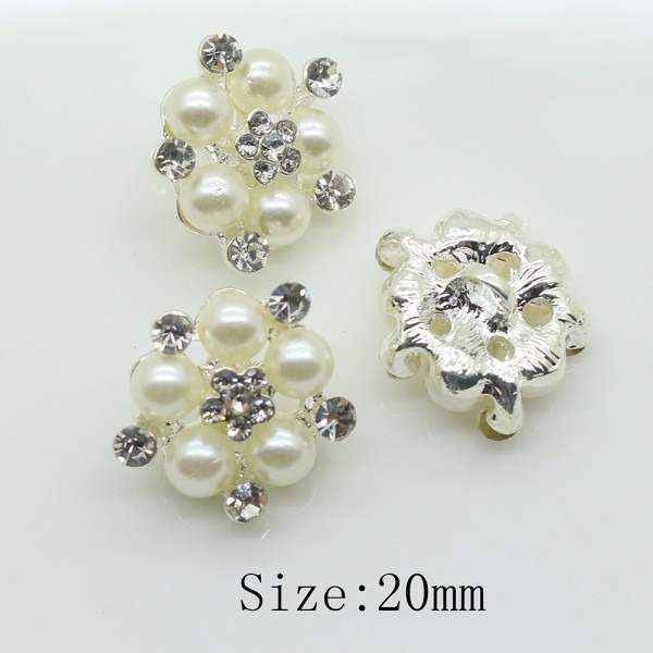 Fashion 10pcs Sewing Craft 20 Mm Flower Round Pearl Button