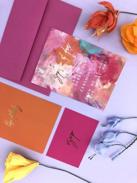 Colourful Gold Foil Wedding Invitation In 2019