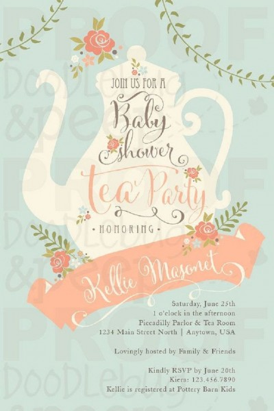 Essentials Baby Shower Invitation Tea