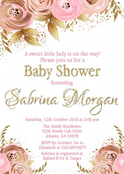 Floral Pink Gold Baby Shower Invitation And 50 Similar Items