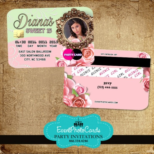 Floral Roses Quinceanera Invitations