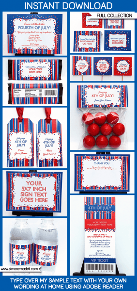 Fourth Of July Party Printables, Invitations & Decorations