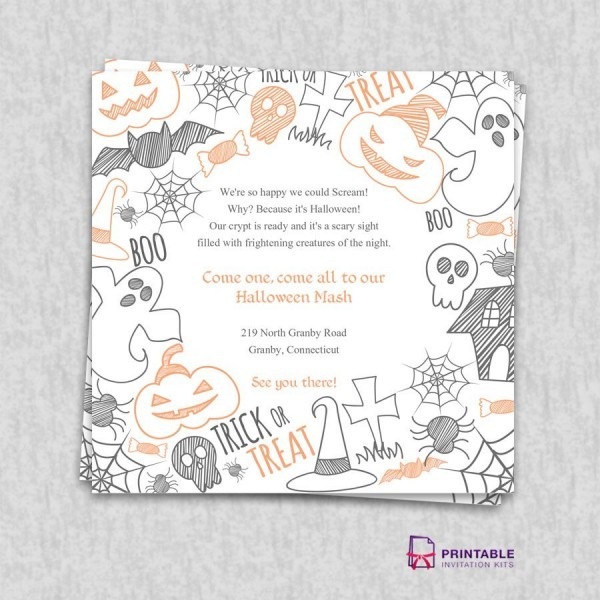 Free Pdf Download  Halloween Party Invitation Template
