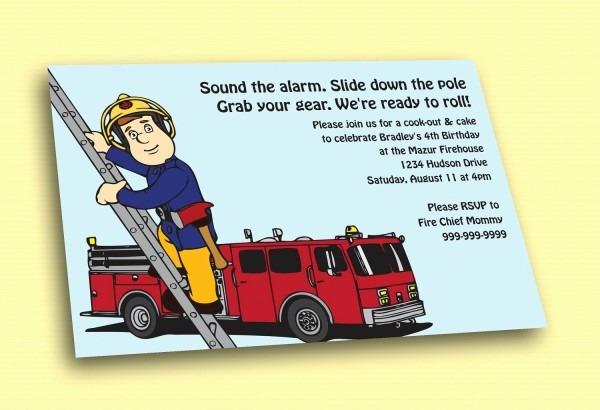 Free Printable Fireman Birthday Invitations Awesome Fireman Sam