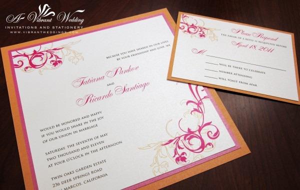 Fuschia And Orange Wedding Invitations