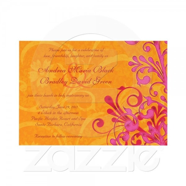 Fuschia And Orange Wedding Invitations Vibrant Orange And Pink