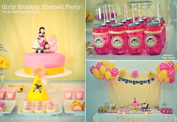Kara's Party Ideas Girly Monkey Pink Yellow Banana 3rd Birthday