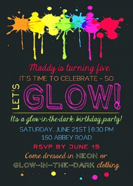 Glow Party Invitations Wording – Invitation Card Ideas