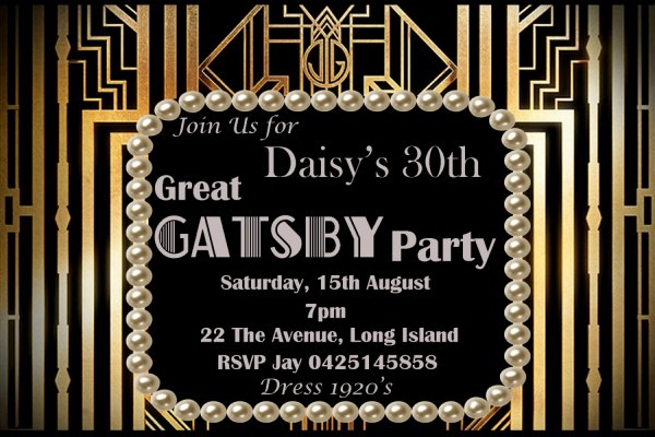 Great Gatsby Party Invitations Great Gatsby Party Invitations By