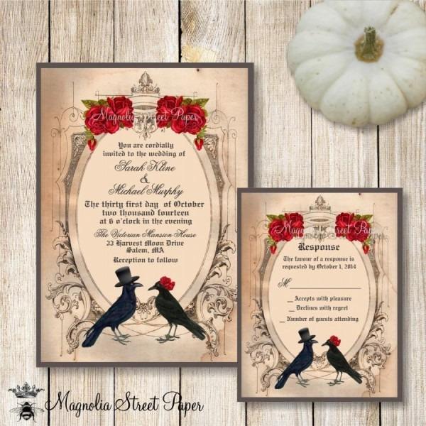 Halloween Wedding Invitation, Goth Wedding Invite, Crow Wedding