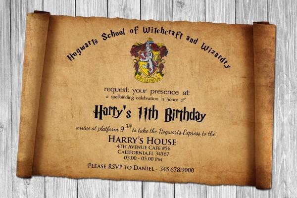 Harry Potter Birthday Invitations Harry Potter Birthday