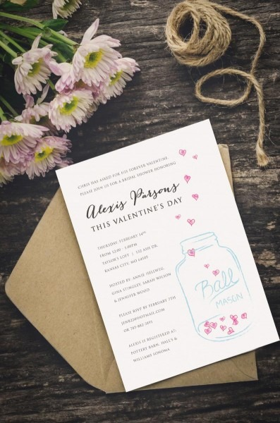 Mason Jar Bridal Shower Invitation Valentine's Day Shower