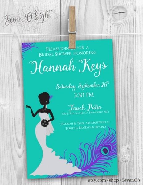Peacock Bridal Shower Invite Digital File Only
