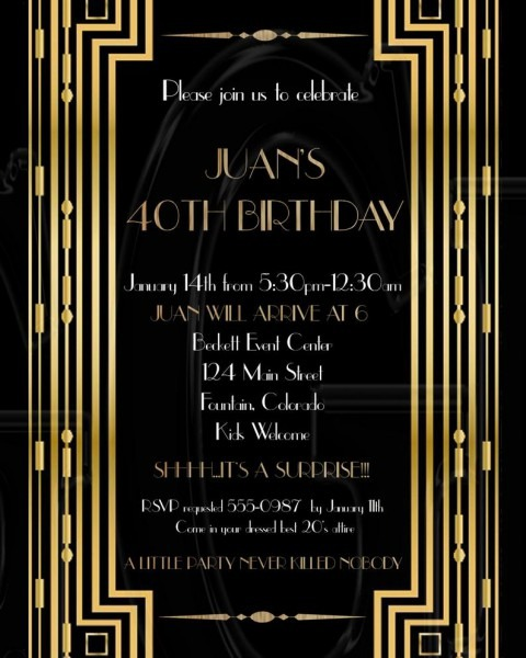 Roaring 20's Invitation Great Gatsby Birthday Party