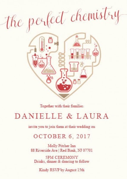 The Perfect Chemistry Heart Wedding Invitation Red