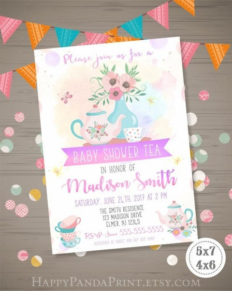Tea Party Baby Shower Invitation Girl Tea Party Invitation