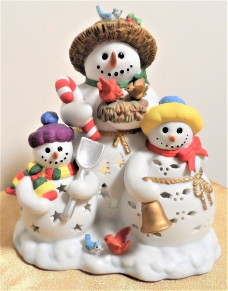 Vintage Partylite Snowbell Snowmen Family Tealight Candle