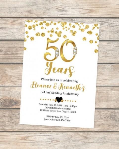 50th Wedding Anniversary Invitation Golden Anniversary