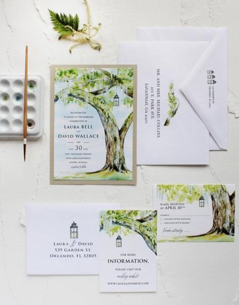 Handmade Watercolor Live Oak Plantation Wedding Invitation