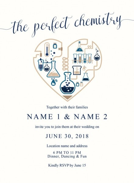 The Perfect Chemistry Heart Wedding Invitation Blue