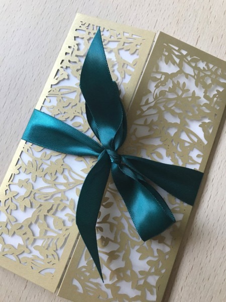 Gold Laser Cut Wedding Invitation Kit Gold And Emerald Green