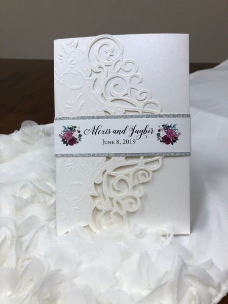 Lace Laser Cut And Embossed Wedding Invitation Mauve Dusty