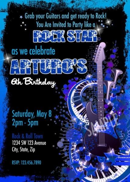 Rock Birthday Invitation Diy Rock And Roll Birthday