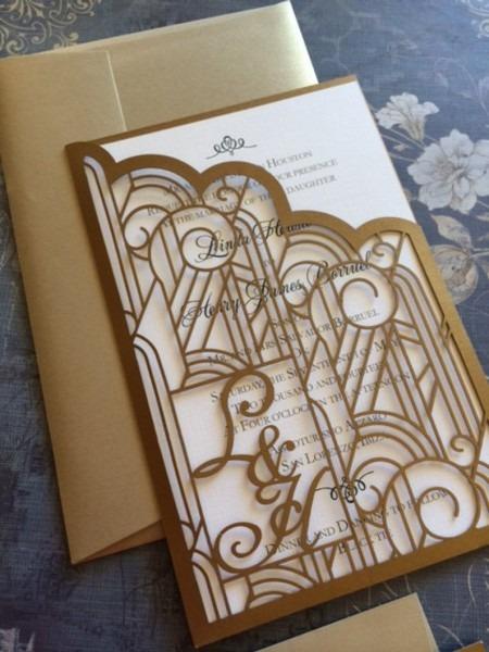 Art Deco Gatsby Lasercut Wedding Invitation With Custom
