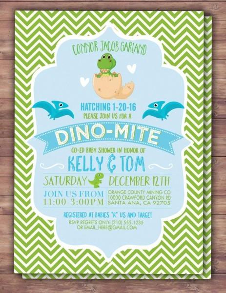 Dinosaur Baby Shower Invitation Dino Baby Chevron Pattern