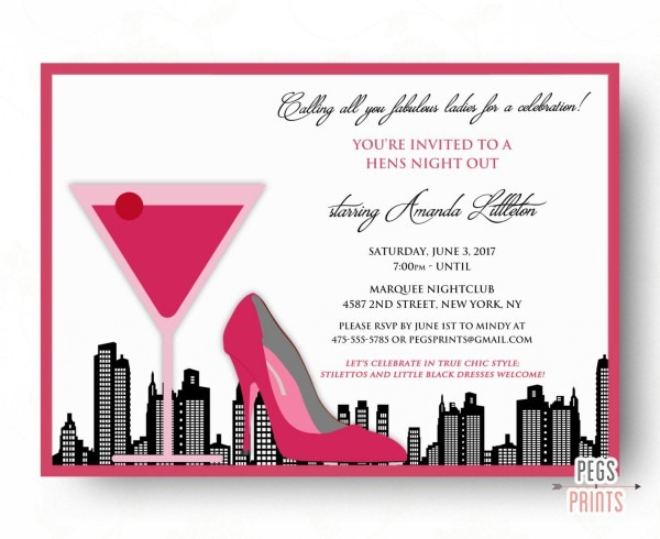 Hens Night Invitation Hens Night Out Bachelorette Party