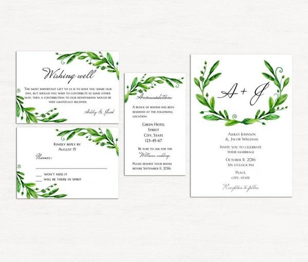 Green Wedding Invitation Kits Printable Summer Wedding Set