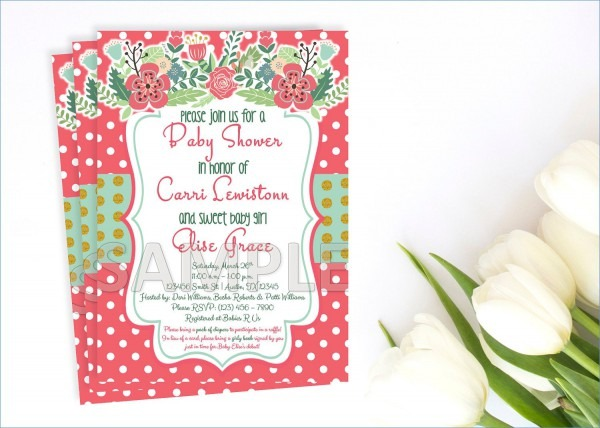 Floral Baby Shower Invitation Coral And Mint Baby Shower