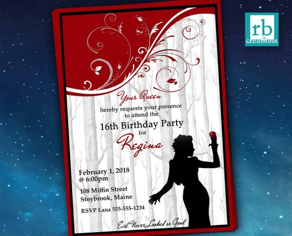 Once Upon A Time Regina, Evil Queen Birthday Invitation, Once