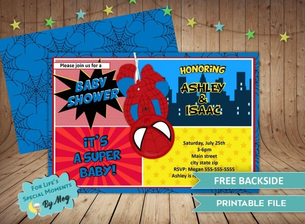 Spiderman Super Hero Baby Shower Invitations It's A Boy