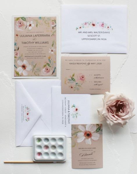 Handmade Watercolor Roses Wedding Invitation, Watercolor Wedding