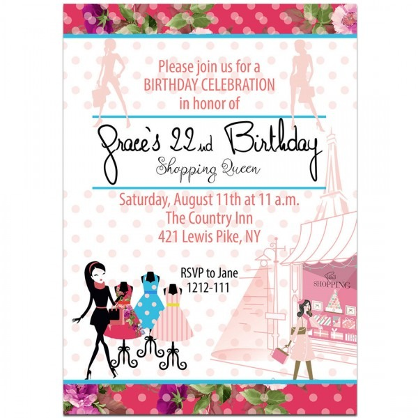 Paris Shopping Queen Birthday Party Invitations
